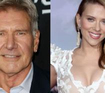Primo piano di Harrison Ford e Scarlett Johansson