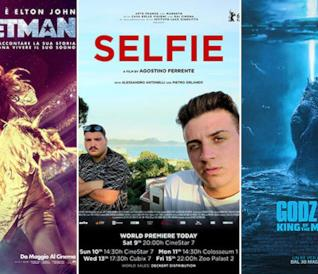 I poster dei film Rocketman, Selfie, Godzilla II - King of the Monsters