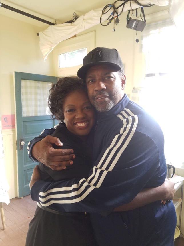 Denzel Washington e Viola Davis sul set di Fences