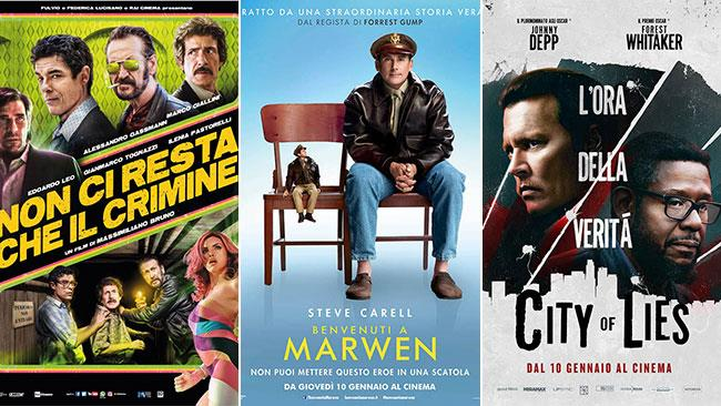 I poster dei film Non ci resta che il crimine, Benvenuti a Marwen, City of Lies - L'ora della verità