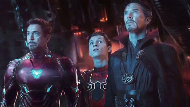 Iron Man, Iron Spider e Doctor Strange in Avengers: Infinity War