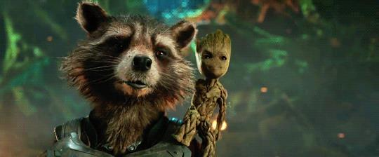 Rocket Raccon con Baby Groot sulle spalle