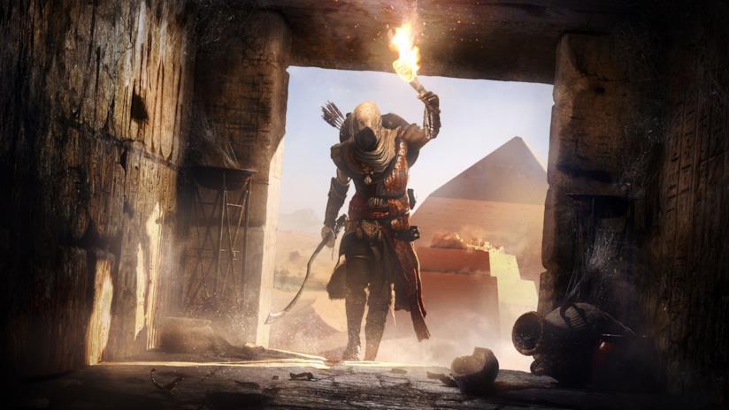 Bayek esplora una tomba in Assassin's Creed Origins