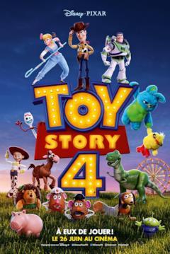 Tutti i protagonisti di Toy Story 4 riuniti attorno al logo del film