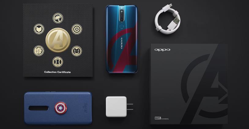 Immagine stampa del contenuto della confezione di Oppo F11 Pro Avengers: Endgame Edition