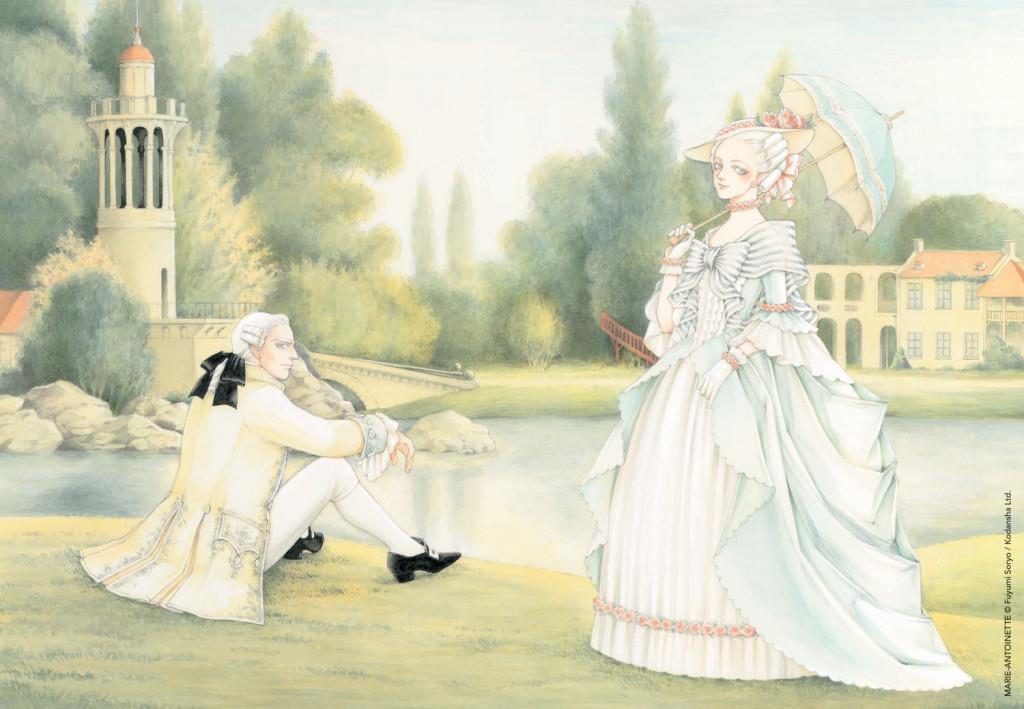Maria Antonietta e Luigi XVI in un'illustrazione a colori di Fuyumi Soryo