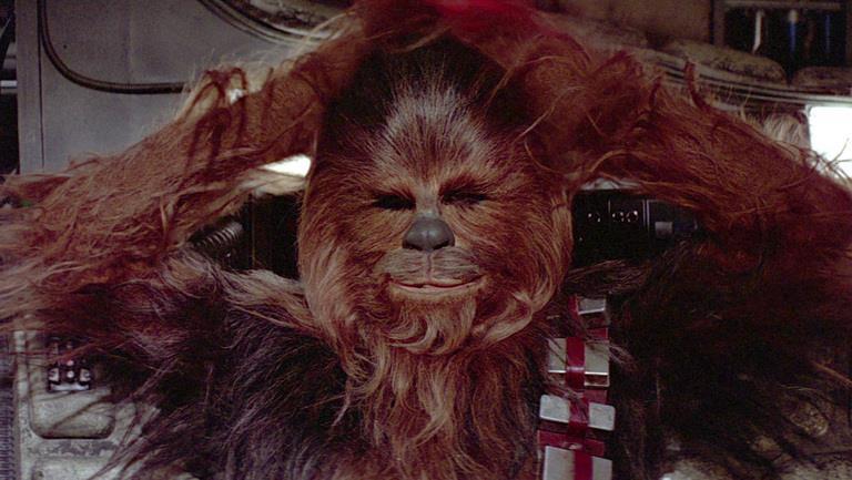 Chewbecca in un'immagine delal saga di Star Wars
