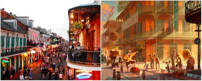 La New Orleans Disney accostata a quella attuale