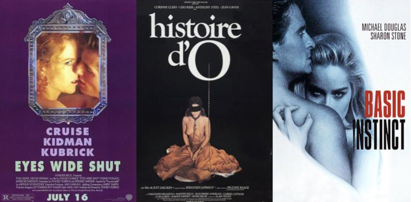 I poster di Eyes Wide Shut, Histoire d'O e Basic Instinct