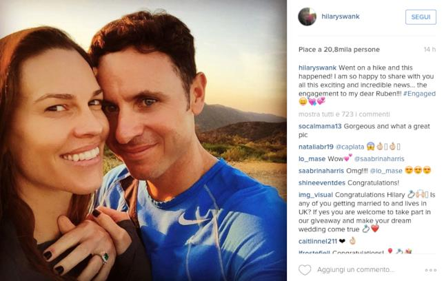 Foto di Hilary Swank e Ruben Torres su Instagram
