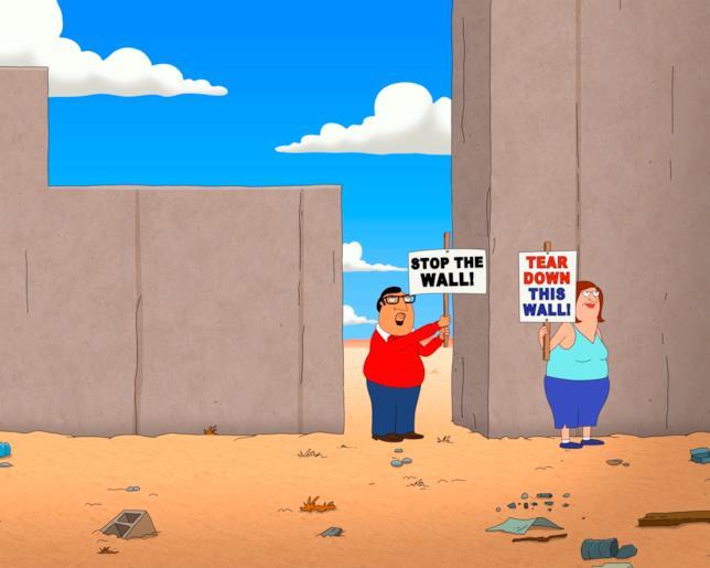 Scena di Bordertown con J.C. e Becky a protestare davanti al muro fra USA e Messico