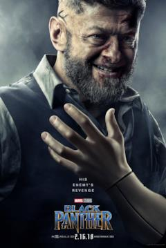 Andy Serkis è Ulysses Klaue nel character poster del film Black Panther