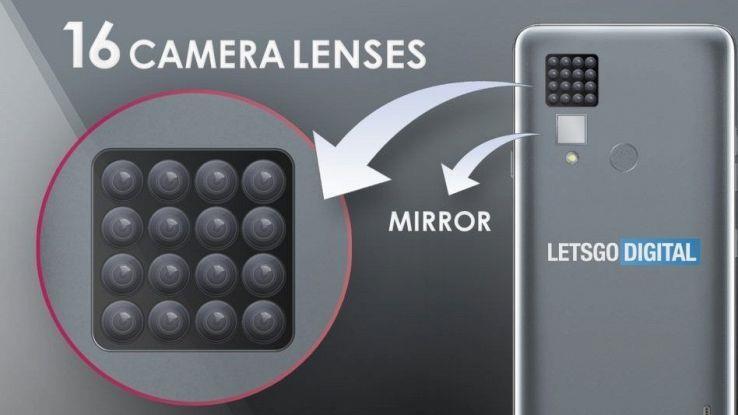 L'ipotetica disposizione dei 16 sensori fotografici depositata all'Ufficio Brevetti da LG