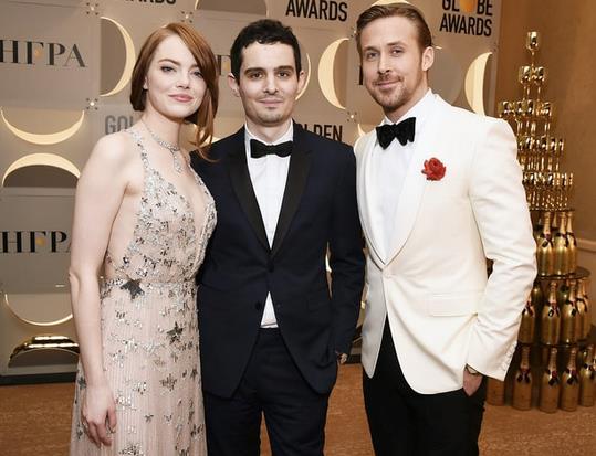 Emma Stone, Damien Chazelle e Ryan Gosling ai Golden Globes 2017