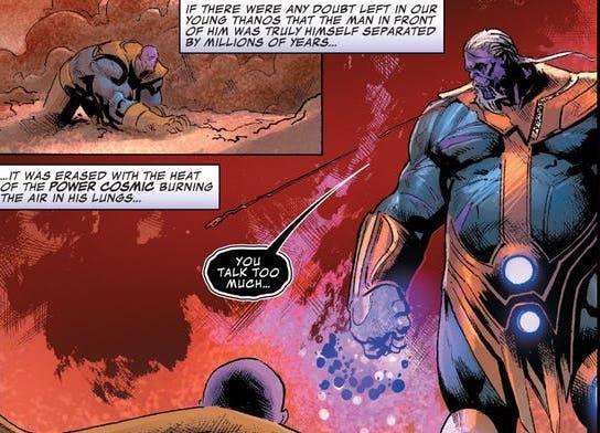 Thanos al cospetto di una versione futura di sé stesso in una tavola di Thanos 14