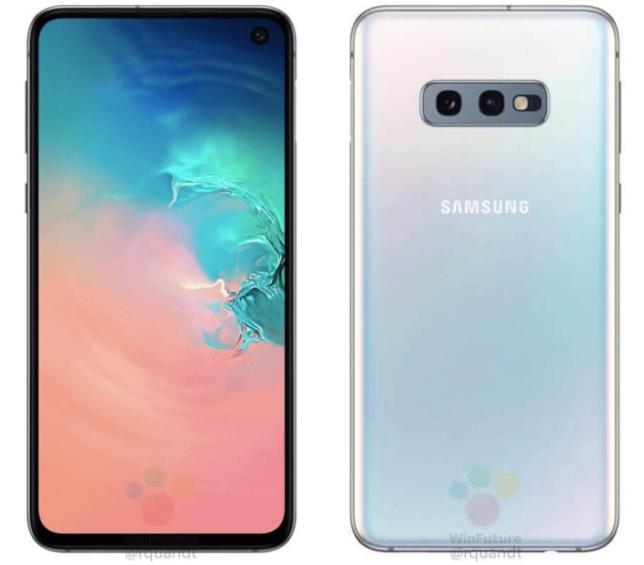Immagine stampa che svela fronte e retro del Galaxy S10E di Samsung