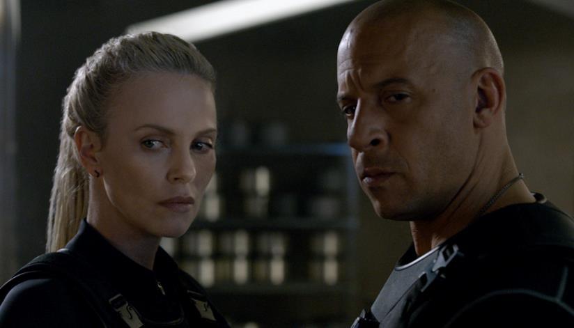 Una scena di Fast & Furious 8 con Vin Diesel e Charlize Theron