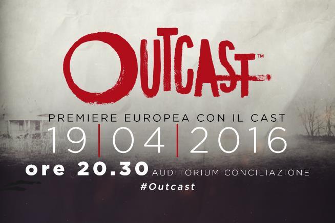 Locandina evento della premiere europea a Roma con il cast di outcast