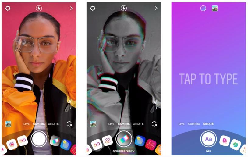 Il nuovo design della fotocamera interna di Instagram