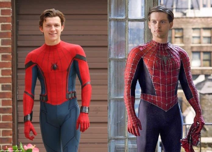 Tom Holland (sinistra) e Tobey Maguire (destra) nei panni di Spider-Man