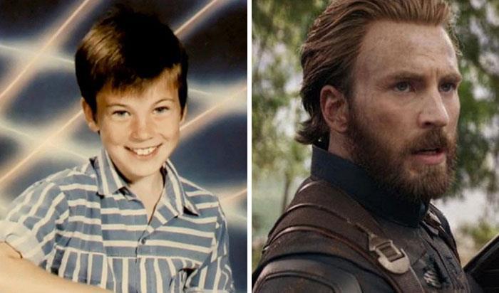 Chris Evans (Capitan America) da bambino e nei film Marvel