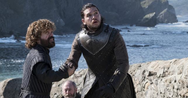 Peter Dinklage e Kit Harington nei panni di Tyrion Lannister e Jon Snow
