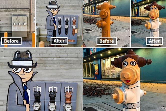 Le opere di Tom Bob nelle città
