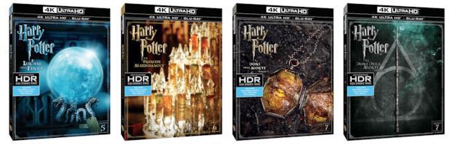 Le cover degli ultimi 4 film di Harry Potter in edizione Blu-ray 4K Ultra HD