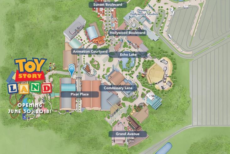 La mappa dell'area Toy Story Land che sorgerà affianco a Disney' Hollywood Studios di Orlando
