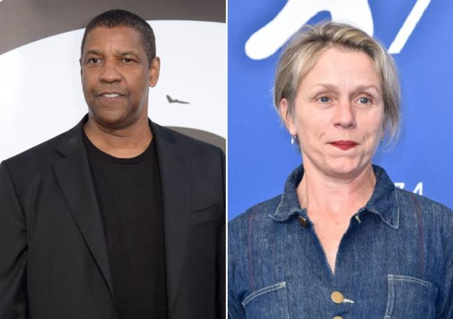 Collage di Denzel Washington e Frances McDormand