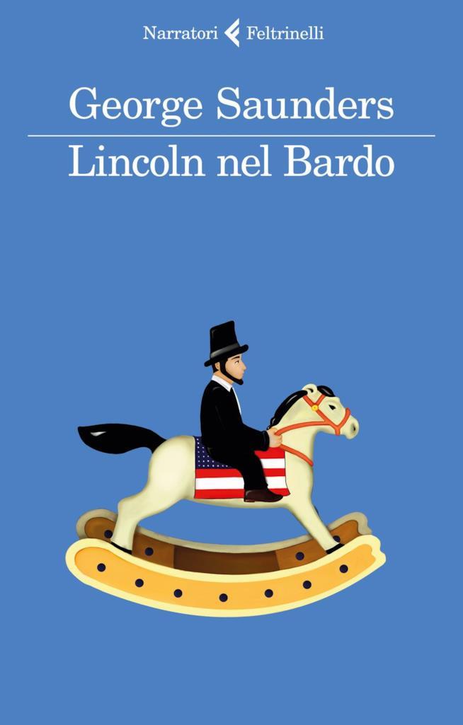 La copertina italiana di Lincoln nel Bardo con il presidente su un cavallo a dondolo