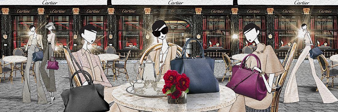 Tre Susu Girls sedute ad un tavolino di un bar e ciascuna ha scelto una borsa Cartier per l'incontro