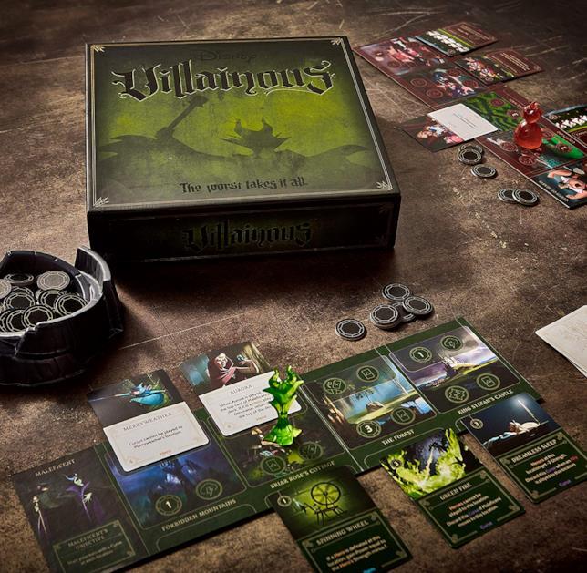 Alcuni componenti del gioco da tavolo Disney Villainous