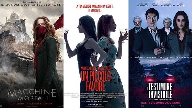 I poster dei film Macchine mortali, Un piccolo favore, Il testimone invisibile