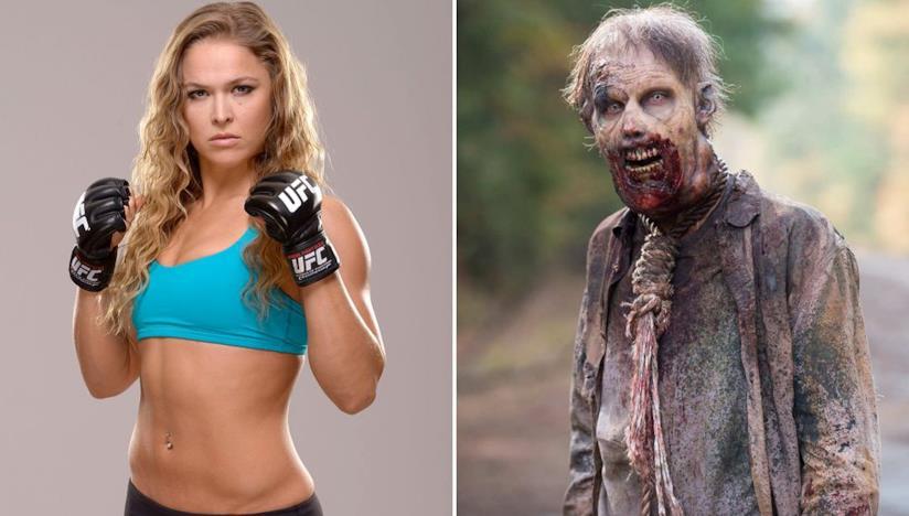Ronda Rousey e uno zombie di The Walking Dead
