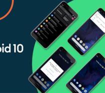 Il logo di Android 10 (sinistra) e una serie di Google Pixel (destra)