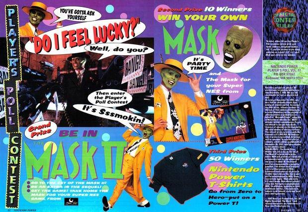 La pagina della rivista Nintendo Power dove viene illustrato il concorso dedicato a The Mask 2