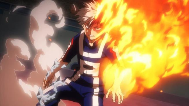 Todoroki sa usare sia il ghiaccio che il fuoco