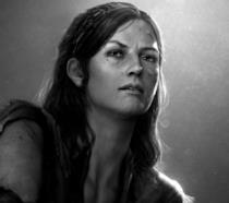 Un intenso primo piano di Tess dal primo capitolo di The Last of Us