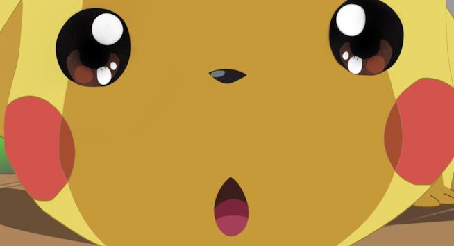 Il faccione giallo di Pikachu in primo piano