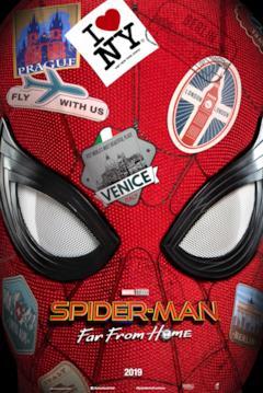 La maschera di Spider-Man piena di adesivi delle città europee