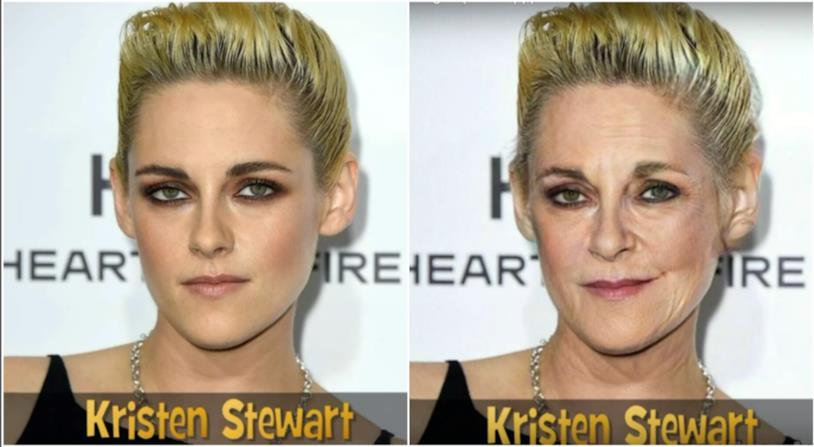 Collage tra Kristen Stewart giovane e anziana