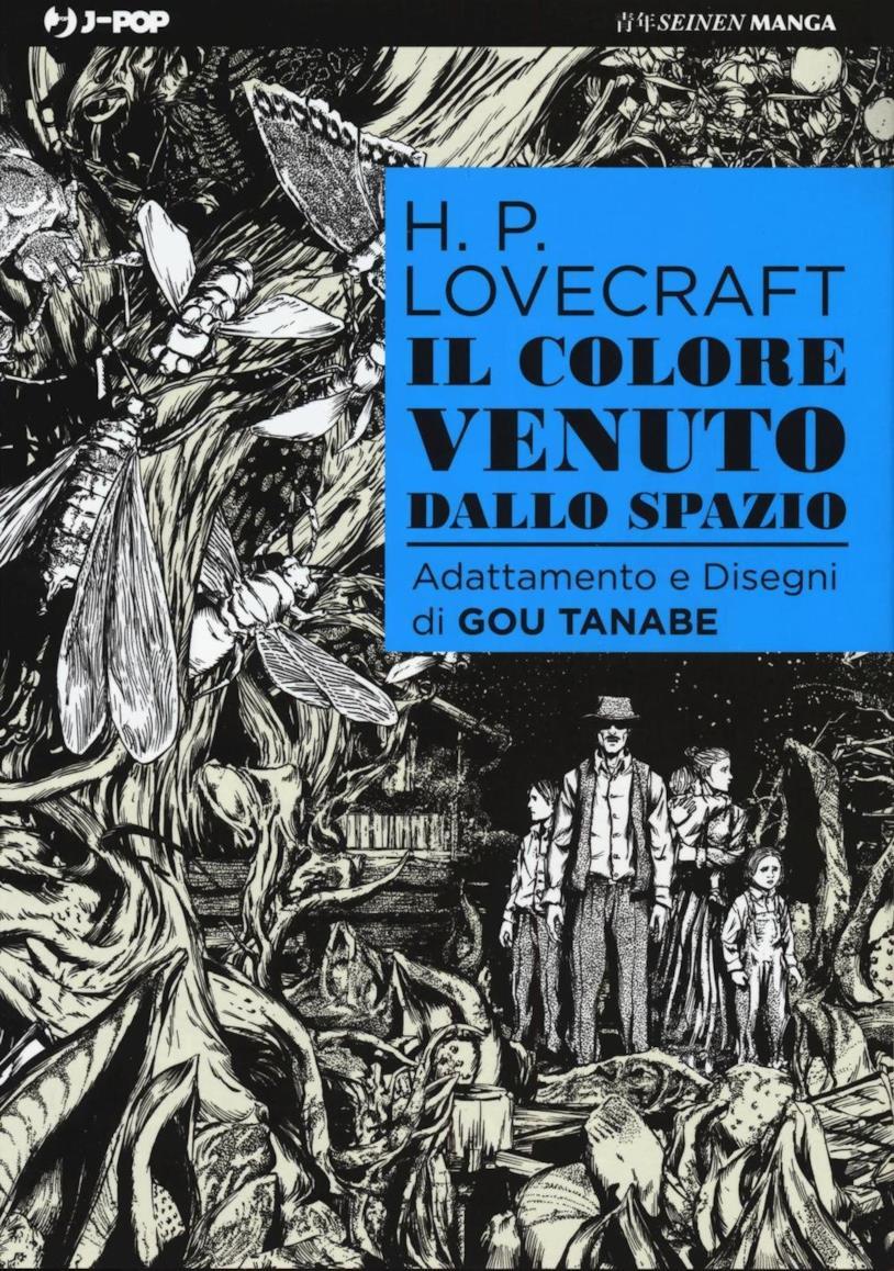 La cover in bianco e nero dove è disegnata la famiglia protagonista del racconto Il colore venuto dallo spazio