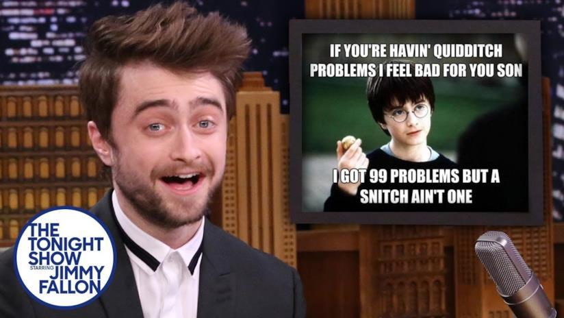 Primo piano di Daniel Radcliffe ospite a The Tonight Show Starring Jimmy Fallon