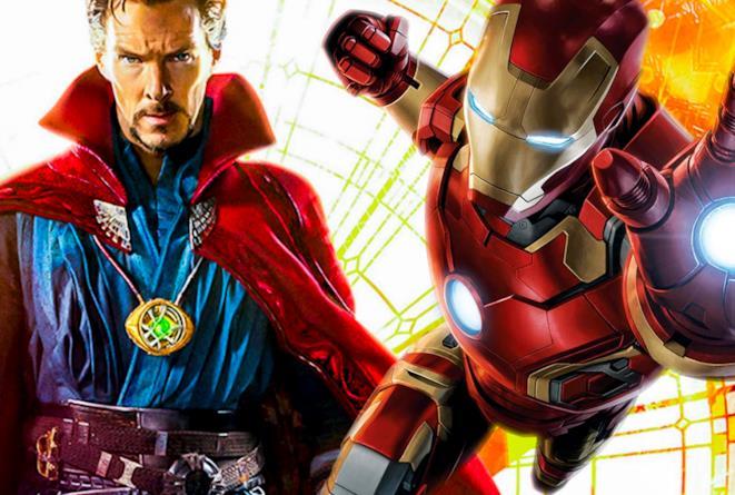 Doctor Strange e Iron Man in una fotocomposizione