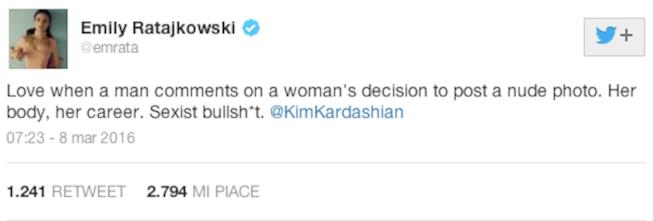 Il tweet di Emily Ratajkowski in difesa di Kim Kardashian