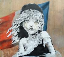 Uno dei recenti graffiti di Banksy dedicato ai miserabili di Calais
