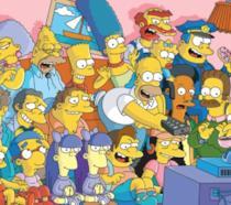 In foto Homer, Bart, Lisa, Marge, Maggie e gli altri abitanti di Springfield