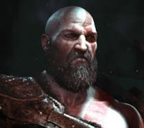 Un primo piano di Kratos dal primo trailer di God of War per PS4