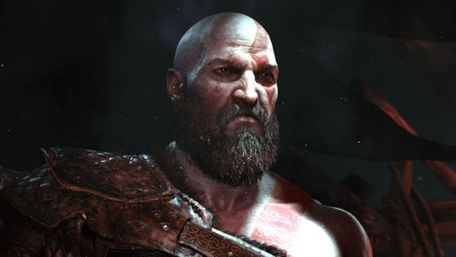 Un primo piano di Kratos dal primo trailer di God of War per PS4